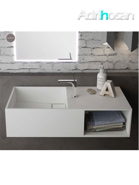 Lavabo Solid Surface rectangular Soul 80x40x25 cm blanco