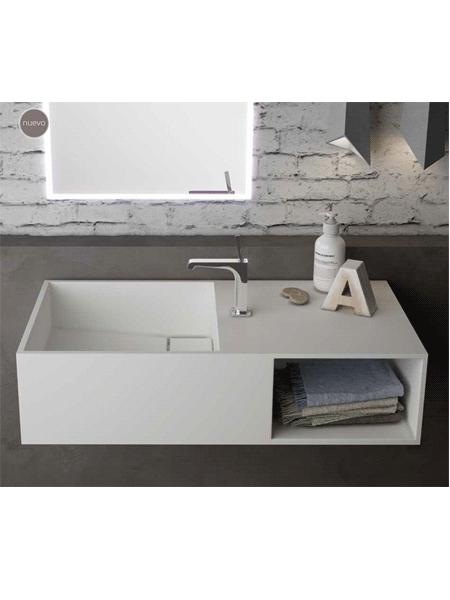 Lavabo Solid Surface rectangular Soul 80x40x25 cm blanco | Adrihosan