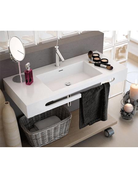 Lavabo Solid Surface rectangular Tecnos 1000x460x120 cm blanco | Adrihosan