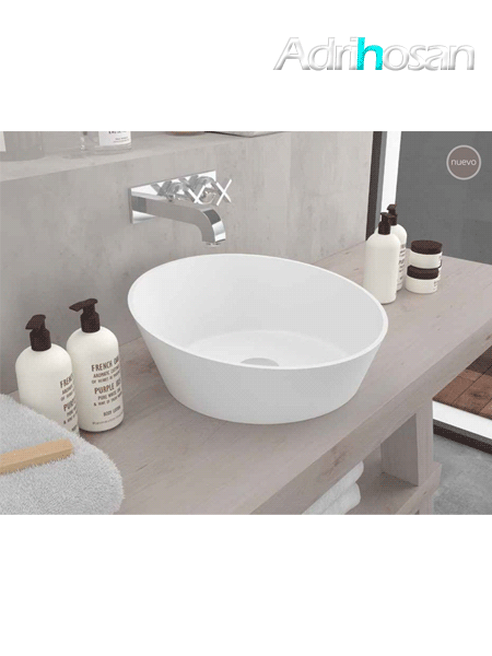 Lavabo Solid Surface redondo Arena 45x15 cm blanco
