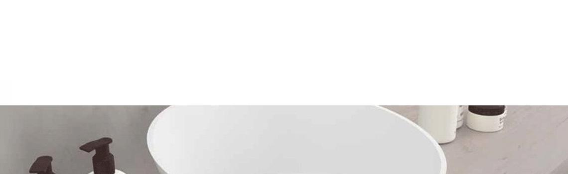 Lavabo Solid Surface redondo Arena 45x15 cm cm blanco | Adrihosan