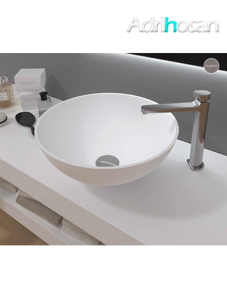 Lavabo Solid Surface tipo bol  D40x15 cm blanco