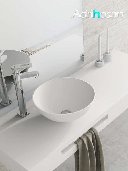 Lavabo Solid Surface tipo bol bolonia D37x14 cm blanco