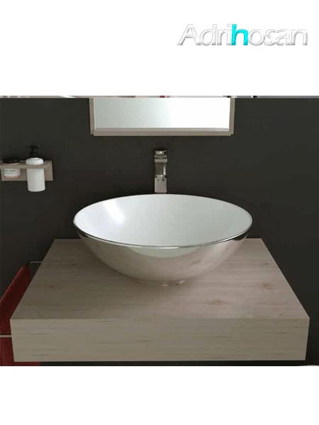 Lavabo cerámico Tipo bol bicolor D400 x 150 cm blanco - plata