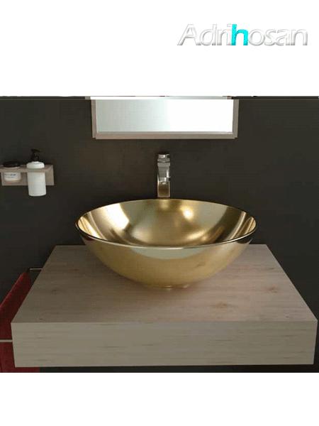 Lavabo cerámico Tipo bol D400 x 150 cm oro