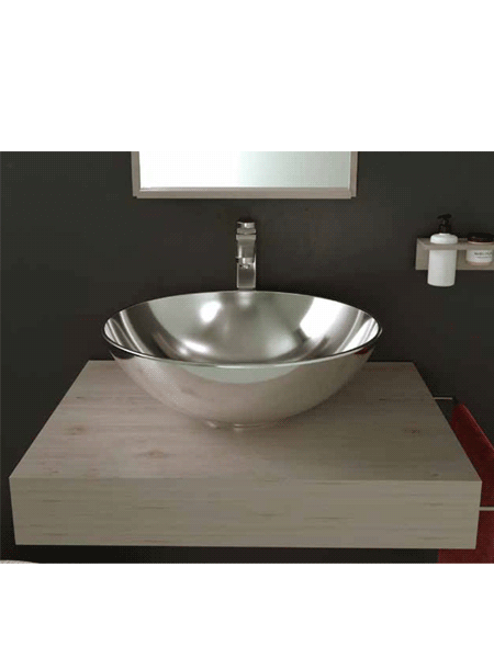 Lavabo cerámico Tipo bol D400 x 150 cm plata