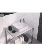 Lavabo cerámico cuadrado Yeltes 425 x 425 x 120 cm blanco | Adrihosan
