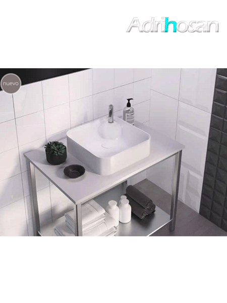 Lavabo cerámico cuadrado Yeltes 425 x 425 x 120 cm blanco
