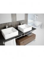 Lavabo cerámico cuadrado Apis 380 x 380 x 130 blanco | Adrihosan