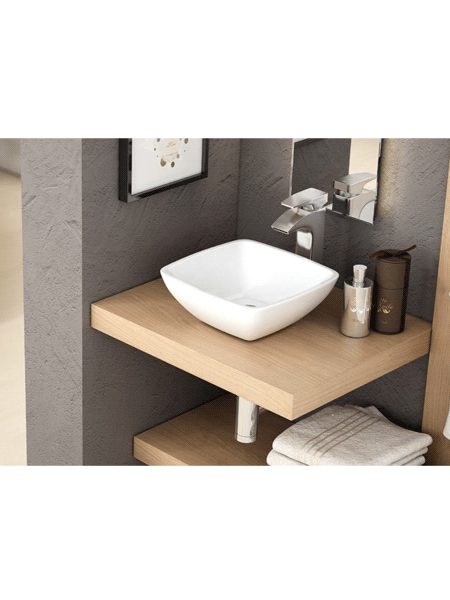 Lavabo cerámico cuadrado Aure 300 x 300 x 115 cm blanco | Adrihosan