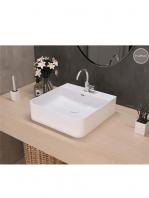 Lavabo cerámico cuadrado Eume 420 x 420 x 130 cm blanco | Adrihosan