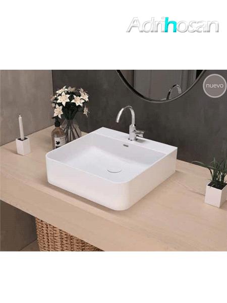 Lavabo cerámico cuadrado Eume 420 x 420 x 130 cm blanco