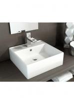 Lavabo cerámico cuadrado Libra 410 x 410 x 150 cm blanco | Adrihosan