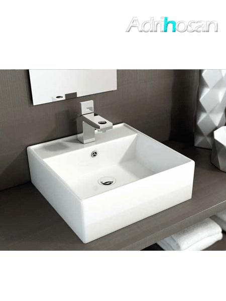 Lavabo cerámico cuadrado Libra 410 x 410 x 150 cm blanco