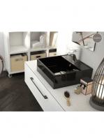 Lavabo cerámico cuadrado Libra 410 x 410 x 150 cm negro | Adrihosan