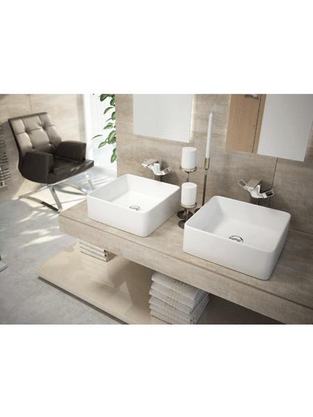 Lavabo cerámico extrafino cuadrado Anubis 395 x 395 x 140 cm blanco | Adrihosan