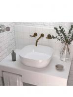 Lavabo cerámico extrafino cuadrado Obi 425 x 425 x 140 cm blanco | Adrihosan