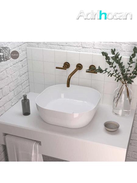 Lavabo cerámico extrafino cuadrado Obi 425 x 425 x 140 cm blanco