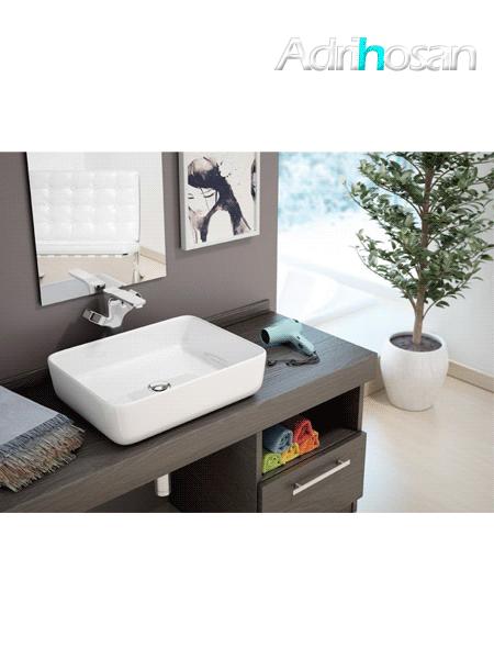 Lavabo cerámico extrafino rectangular Iris 500 x 400 x 135 cm blanco
