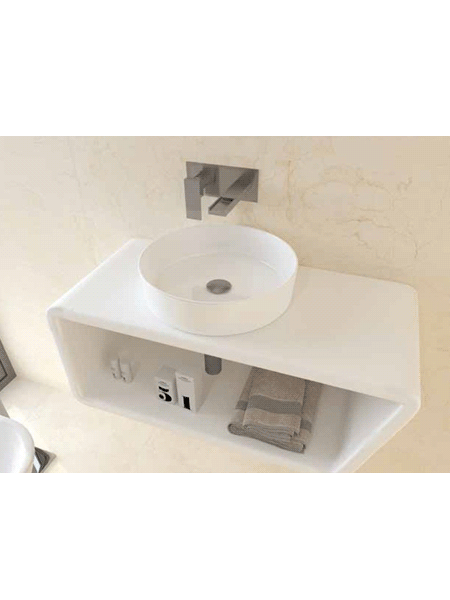 Lavabo cerámico extrafino circular Osiris D355 x 115 cm blanco | Adrihosan