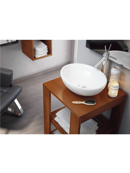 Lavabo cerámico ovalado Oval 410 x 330 x 145 cm blanco | Adrihosan