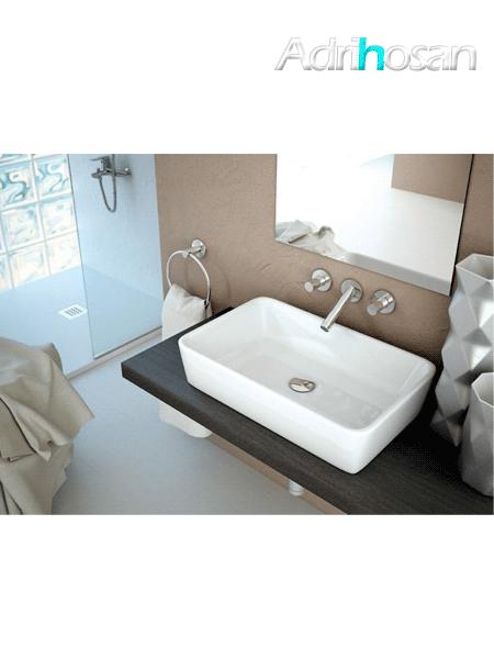 Lavabo cerámico rectangular Keops 580 x 370 x 130 cm blanco