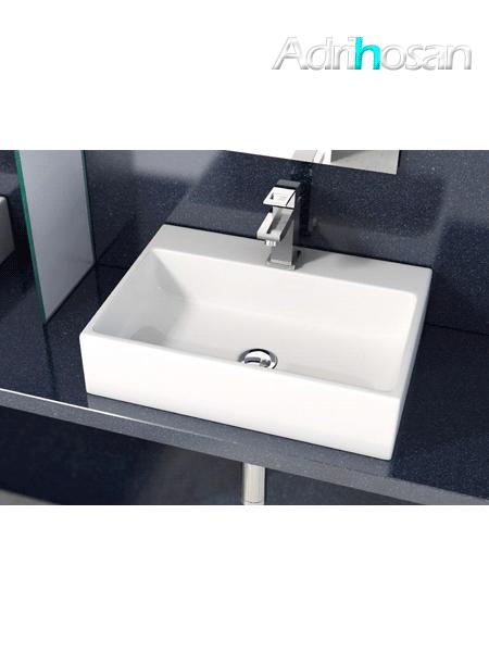 Lavabo cerámico rectangular Leo 500 x 350 x 120 cm blanco