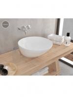 Lavabo cerámico redondo Saja 445x445x180 cm blanco | Adrihosan