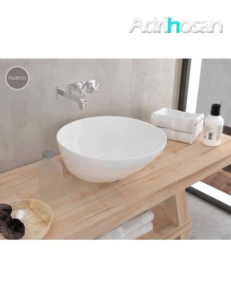 Lavabo cerámico redondo Saja 445x445x180 cm blanco