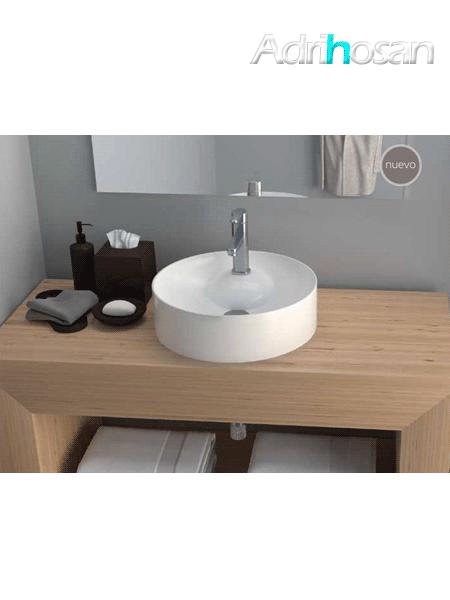 Lavabo cerámico redondo Tera D 430 x 130 cm blanco