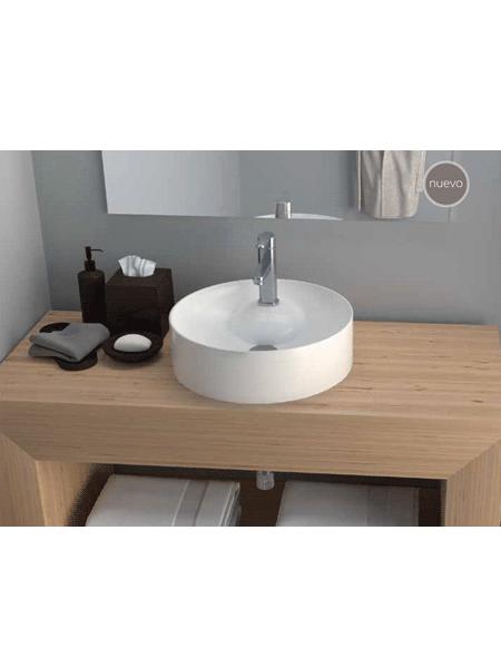 Lavabo cerámico redondo Tera D 430 x 130 cm blanco | Adrihosan