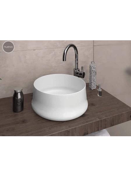 Lavabo cerámico redondo Genil D 40 x 16 cm blanco | Adrihosan