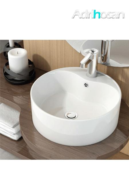 Lavabo cerámico redondo round D 46 x 145 cm blanco