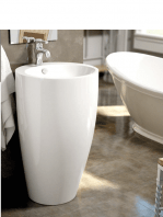 Lavabo de pie cerámico circular Pietro d490 x 820 cm blanco | Adrihosan