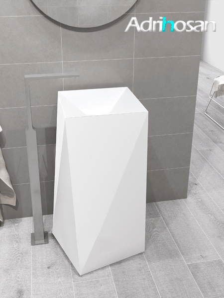 Lavabo exento Solid Surface octans 39x39x85 cm blanco
