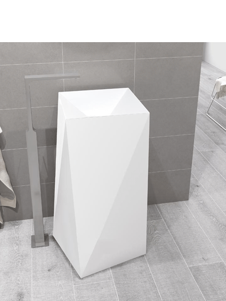 Lavabo exento Solid Surface octans 39x39x85 cm blanco | Adrihosan