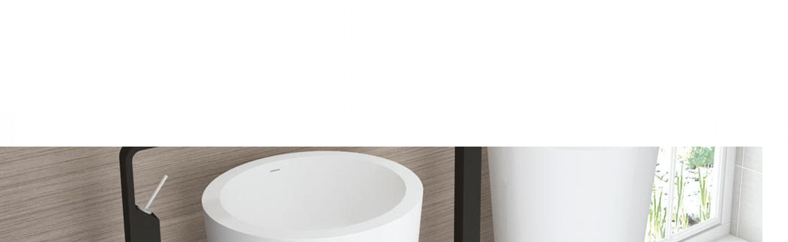 Lavabo exento Solid Surface onyx 46.5x46.5x85 cm blanco | Adrihosan