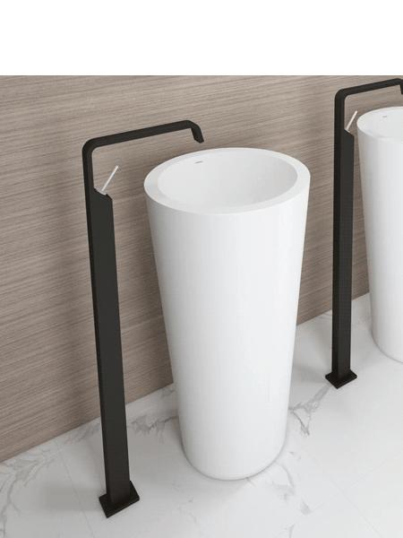 Lavabo exento Solid Surface onyx 46.5x46.5x85 cm blanco | Adrihosan