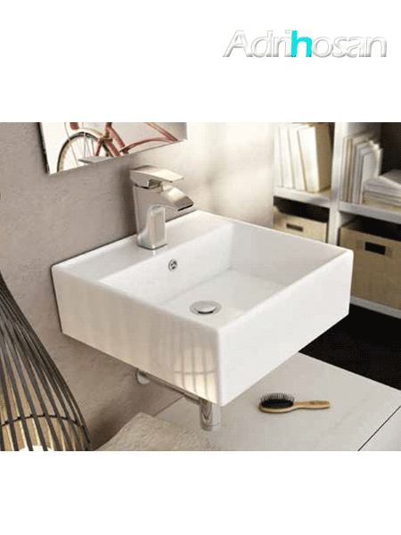 Lavabo suspendido cerámico cuadrado libra 410 x 410 x 150 cm blanco.