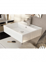 Lavabo suspendido cerámico rectangular Leo 500 x 350 x 120 cm blanco | Adrihosan
