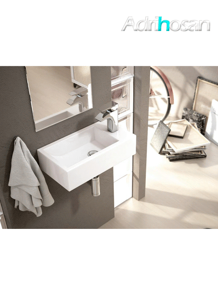Lavabo suspendido cerámico rectangular Picolo 455 x 255 x 120 cm blanco.