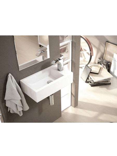 Lavabo suspendido cerámico rectangular Picolo 455 x 255 x 120 cm blanco | Adrihosan