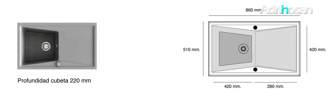 Fregadero de fibra Kuma 303 brillo sobre encimera Poalgi Adrihosan