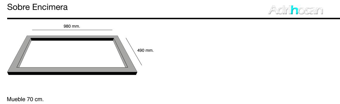 Fregadero de fibra Kuma 305 brillo sobre encimera Poalgi Adrihosan