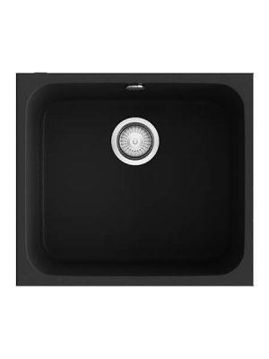 Fregadero de fibra Gandía 164 brillo bajo o sobre encimera Poalgi negro