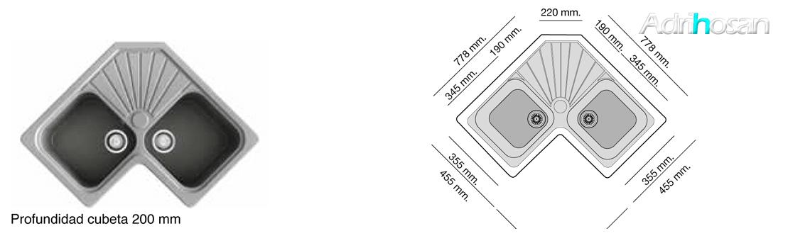 Fregadero sintético Basic Agata brillo sobre encimera Poalgi Adrihosan