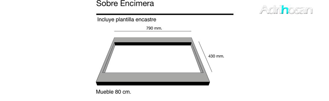 Fregadero sintético Basic Amatista brillo sobre encimera Poalgi Adrihosan