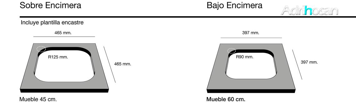Fregadero sintético Basic Ambar brillo sobre encimera Poalgi Adrihosan