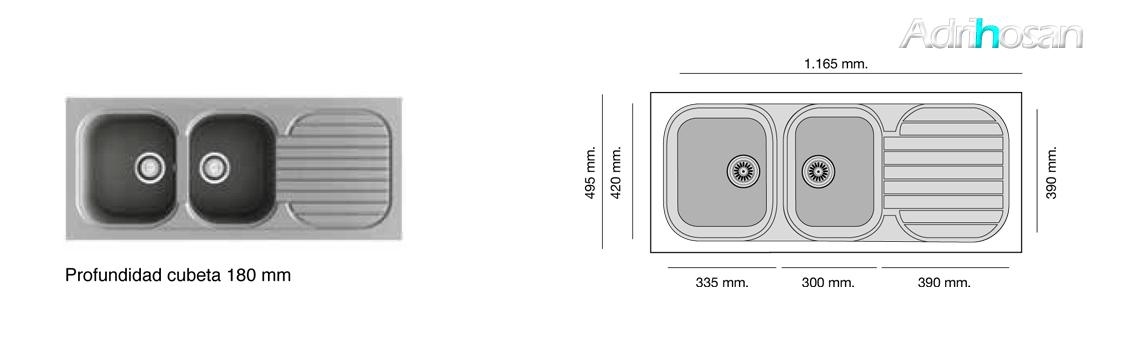 Fregadero sintético Basic Creta brillo sobre encimera Poalgi Adrihosan