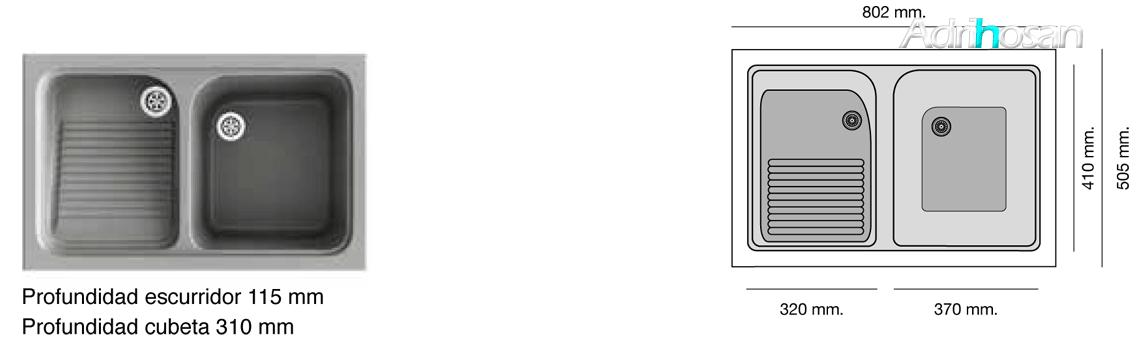 Lavadero exterior sintético Basic Cuarzo brillo sobre encimera Poalgi Adrihosan